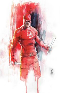 Daredevil by Rod Reis. Amazing, but his sticks are too short to cause any damage. Swing a stick this length all you'll do is make the other guy laugh.