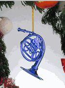 Mini blue French horn... so cute on a Xmas tree!
