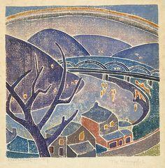 The Monongahela, Blanche Lazzell, 1919, color woodcut.