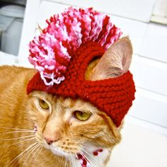 Mohawk Cat Hat Red White Pink READY TO SHIP by bitchknits on Etsy, $13.00