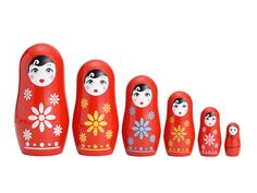 Meet Cutie.  She was born out of the renewed trend status Russian Nesting Dolls are currently experiencing, as they get reinterpreted in everything from measuring cups to yes, even spoons.  Admittedly modern, Cutie tells us she feels most akin to the traditional matryoshka design we all grew up on, only she likes to dress a bit different.  She's sure to become a favorite of any girl, new to the genre or collector, lucky to receive her.  Set includes 6 dolls which measure from 4 1/2 inches H…