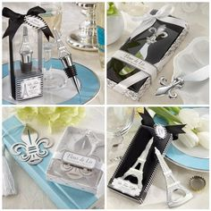 Bottle openers as wedding favors. Love the fleur de lis one in particular.