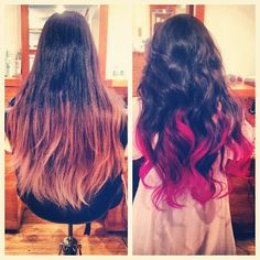 Pink ombre hair @Ivy Abeare Skiles  I LOVE this....I m assuming this would take bleach though?