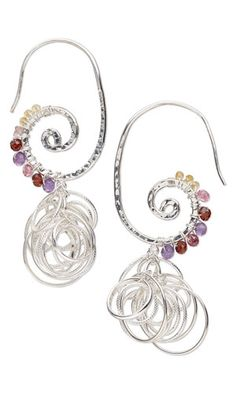 Earrings with Gemstone Beads, Sterling Silver Jumprings and Wire Wrap - Fire Mountain Gems and Beads