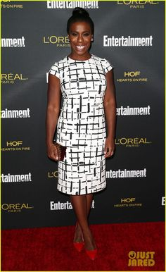 Uzo Aduba with EFFY Jewelry earrings and an EF Collection ring.