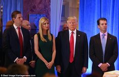 Family affair: Tiffany's half siblings Eric, Ivanka, and Donald Jr. (from left to right) attended the media event with Donald
