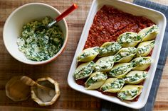 Spinach and Ricotta Stuffed Shells with Spicy Chorizo // Aida Mollenkamp