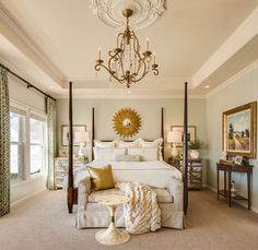 An antique chandelier in the bedroom adds soft light and romance..