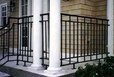 Example of using wrought iron with other materials. I would incorporate it with stamped concrete for our front porch. I really like the no maintenance qualities of powder coated metals and concrete. Porch Step Railing, Wrought Iron Porch Railings, Rod Iron Railing, Porch Railing Designs, Metal Deck Railing, Porch Steps, Balcony Railing, Hand Railing, Aluminum Railings