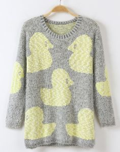 Grey Long Sleeve Duck Pattern Sweater.