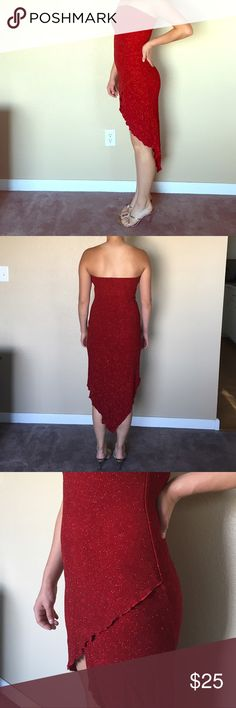 Glitter red strapless stretch dress size small Fun dancing dress! You will sparkle on the dance floor. 92% acetate 8% spandex. Very comfortable. Red glitter stretch fabric. Asymmetrical hem line. Size small. Smoke free home. hourglass Dresses Strapless