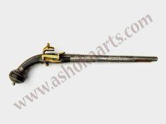 circassian or caucasian flintlock pistol with goldwork and nielloed silver