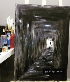 Check my other paintings on Instagram account @sally.arts  #painting #acrylic #acrylicpainting #canvas #painitngoncanvas #mypainitng #dark #depressed #depression #colors #subway #art #artist Depressing Paintings, Creepy Paintings, Easy Canvas Painting, Canvas Art, Easy Skull Drawings, Fall Subway Art, Depression Art, Halloween Painting, Expressive Art
