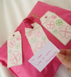 Set of 3 Gift TagsReusable   Homemade Embroidered by LMDSimplyBe, £6.66