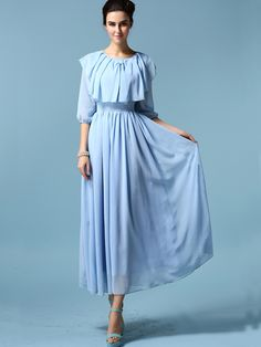 Pale Blue Round Neck Chiffon Pleated Dress 21.00