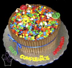 MM cake with chocolate wafers