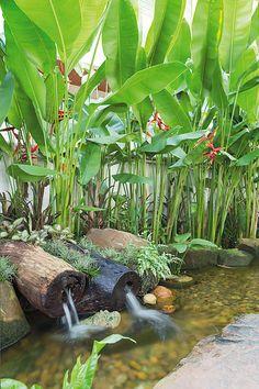 Tropical Garden Design, Tropical Backyard, Tropical Landscaping, Backyard Landscaping, Green Landscape, Landscape Design, Fish Pond Gardens, Balinese Garden, Pond Design