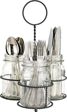 NEW Kitchen Mason Jar Flatware Caddy Cutlery Storage Holder .- NEW Kitchen Mason Jar Flatware Caddy Cutlery Storage Holder Silverware Organizer Silverware Storage, Kitchen Utensil Storage, Cutlery Caddy, Cutlery Holder, Kitchen Utensils, Diy Kitchen, Kitchen Small, Kitchen Dining, Kitchen Ideas