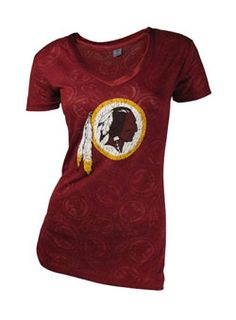 LADIES BURNOUT V-NECK REDSKINS TEE