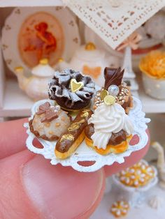 Five miniature chocolate pastries on a shabby chic stand - made by Paris Miniatures - Emmaflam & Miniman