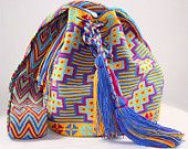 One of a Kind Nativo Style Large Happiness Wayuu Mochila-bag 1 strand handwoven in Colombia by the women of the wayuu indigenous tribe.