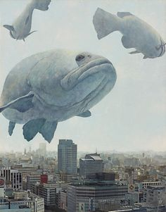 Searching for Paradise is a series of oil paintings made by Japanese artist Shuichi Nakano. His surreal canvases depict pack of giant animals overhanging citysc Japanese Contemporary Art, Japanese Art, Photomontage, Illustrations, Illustration Art, Paradise Painting, Giant Animals, Japon Tokyo, Surrealism Painting