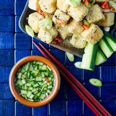 Crispy salt and pepper tofu with a cucumber and chilli dipping sauce is a moreish little nibble to have with drinks, or part of a simple but yummy dinner.
