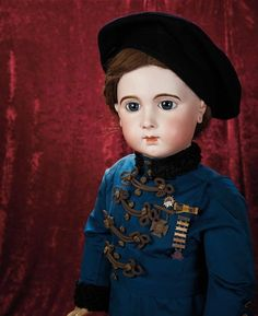 """36""""Extraordinary French Bisque Jumeau Triste Size 16 Blue Eyed A O Antique Doll 