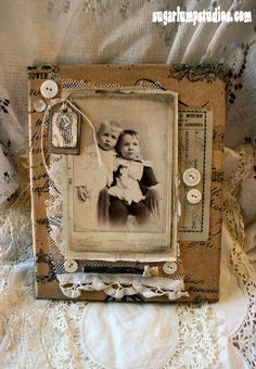 {Brother's Altered Canvas} (Sugar Lump Studios - Artwork by Nancy Maxwell James) Altered Books, Altered Art, Altered Canvas, Heritage Scrapbooking, Picture Frame Decor, Fabric Journals, Art Friend, Encaustic Art, Sewing Art