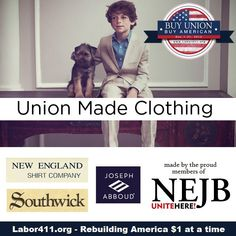 """We're kicking off the December """"Buy Union, Buy American"""" month in style with the high quality clothing made by members of UNITE HERE New England Joint Board! Read more about the great products they make in our latest article, """"Union Made Clothing"""": http://www.labor411.org/index.php?option=com_joomblog=25=390"""