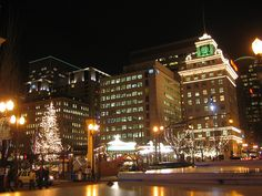 Christmas in downtown Portland's Pioneer Square