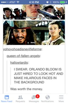 Orlando Bloom / Pirates of the Caribbean / He made hilarious faces in Lord of the Rings as well :) Funny Quotes, Funny Memes, Hilarious, Jokes, Funny Facts, Movie Facts, Movie Quotes, Dc Movies, Good Movies