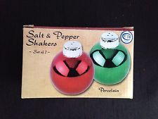 Red And Green Christmas Balls Salt And Pepper Shakers Porcelain