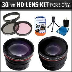 30mm HD WIDE ANGLE MACRO LENS   2X TELEPHOTO LENS   3 PC. FILTER KIT   SCREEN PROTECTORS   More For The Sony HDR-XR350V HDR-CX350V HDR-CX300 HDR-XR150 HDR-CX150 HDR-CX110/L DCR-SX83 DCR-SR68/L DCR-SR88 DCR-DVD650 HDR-PJ30V HDR-PJ50V HDR-CX580V HDR-PJ580V >>> You can get more details by clicking on the image. (This is an Amazon Affiliate link and I receive a commission for the sales)