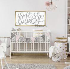 Isn't She Lovely, HAND LETTERED, Large Framed wood, Over The Crib, Nursery Decor, Playroom Sign, Wall Art, Girl, Boy, Baby, 48x24, Farmhouse #nurseryideas #nurseryart #ad