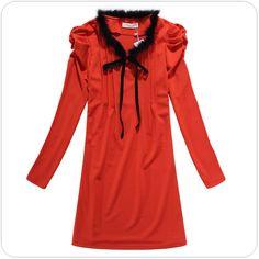 women clothing supplier china ladies winter dress k513 OrangeRed