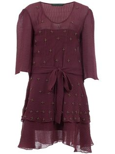 Burgundy 'Sharbat' dress from Emannuelle Junqueira featuring a round neck, belt at the waist, three-quarter length sleeves, contrast all-over beading and a layered ruffle hem.