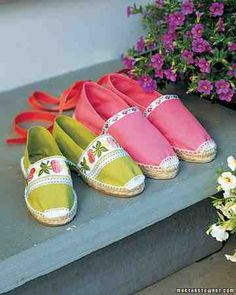 """Give your plain-Jane espadrilles some summer panache with pretty ribbons.Cut a strip to fit across the vamp. Using fabric glue, """"hem"""" the cut edges to create neat ends. Then glue to shoe, and let dry. To add ties to the back, cut a length of sturdy ribbon (such as grosgrain or canvas) that's long enough to wrap around your lower leg twice and be tied into a bow. Fold it in half, and sew the fold to the top of the heel."""