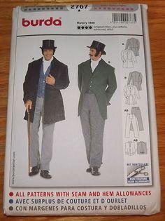 Burda 2767 Mens Steampunk Victorian Suit Jacket Costume Sewing Pattern 36 50 New | eBay