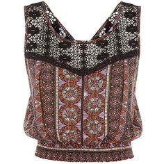Black Tribal Print Crochet Trim Crop Top (€8,17) ❤ liked on Polyvore featuring tops, crop top, shirred top, sleeveless tops, tribal crop top and ruched top