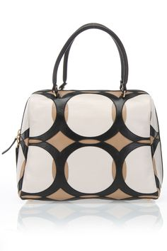 Marni Circles Handbag In Ivory & Black