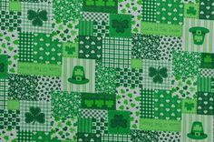Vintage Cotton Fabric Cotton Quilting Fabric by #TheFabricScore www.thefabricscore.etsy.com #green #sewing #shamrock #diy #crafts