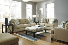 Brileigh Contemporary Teal Fabric Living Room Set