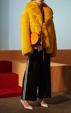 Diane Von Furstenberg canary yellow faux fur coat