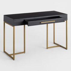 Herringbone Wood Wayde Desk by World Market Home Office Desks, Home Office Furniture, Bed Furniture, Office Decor, Furniture Design, Black Office Desk, Office Ideas, Black Desk, Desk Ideas