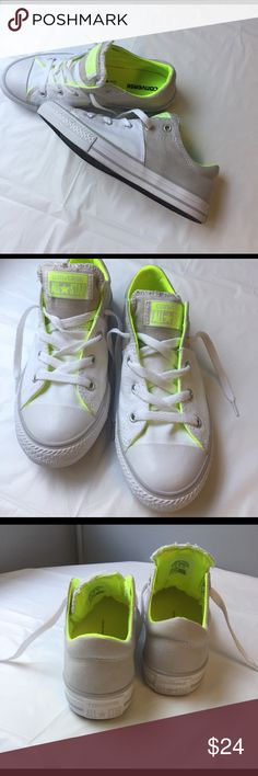 Converse CT All Star Pop Brights Madison Junior size sneaker Lace up closure, molded eyelets, Padded non-slip tongue, 2-tone canvas upper Shoe color: White/Mouse, Rubber outer sole. Sneaker is new, never worn. Sneaker is Junior Size, Med width Converse Shoes Sneakers