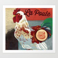 Vintage Chicken Sign Art Print by MSCH Design - $18.99