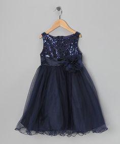 Navy Sequin Tulle A-Line Dress - Toddler & Girls #zulily #zulilyfinds