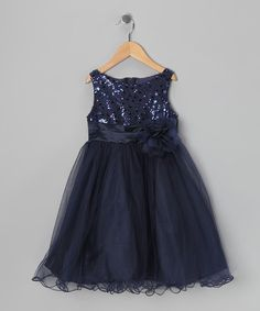 Take a look at this Navy Sequin Sheer Dress - Toddler & Girls by Special Occasions: Dresses & Coats on #zulily today!