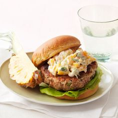 Put a tropical twist on your usual burger night with a mango-yogurt topping. Piña colada not included. Get the recipe for Island Burgers Burger Night, Good Burger, Wrap Recipes, Dinner Recipes, Recipe Tonight, Burger Recipes, Burger Ideas, Sandwich Ideas, Burgers